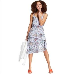 A New Day | Blue Floral Ruffle Midi Dress